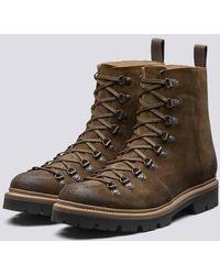 Grenson Brady Hiker Boots In Snuff Suede Commando Sole - Brown