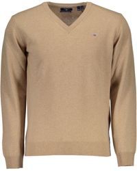 GANT Superfine Lambswool V-Neck Sweater Felpa - Neutro