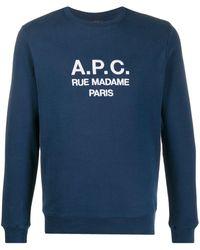 A.P.C. Felpa con ricamo - Blu