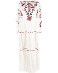 P.A.R.O.S.H. Vestito lungo a fiori - Bianco