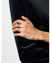 Alexander McQueen Anello doppio Skull - Metallizzato