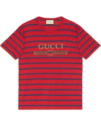 Gucci T-shirt a righe - Rosso