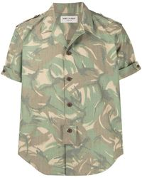 Saint Laurent Camicia con stampa camouflage - Verde