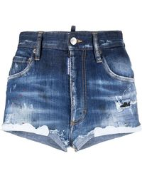 DSquared² Shorts denim con effetto schiarito - Blu