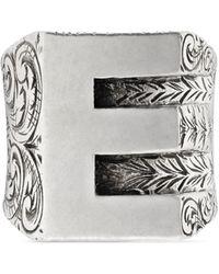 "Gucci - ""e"" Letter Ring In Silver - Lyst"