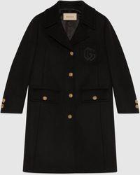 Gucci 【公式】 (グッチ)ダブルg エンブロイダリー ウール コートブラックブラック