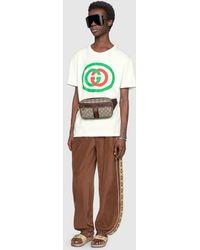Gucci Übergroßes T-Shirt mit GG Logo - Mehrfarbig