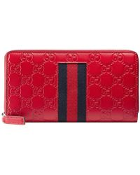 a428cc7a084 Lyst - Gucci Leather Zip Around Wallet With Web Black in Black for Men