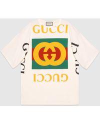 Gucci - 【公式】 (グッチ) ロゴ オーバーサイズ Tシャツオフホワイト コットンホワイト - Lyst