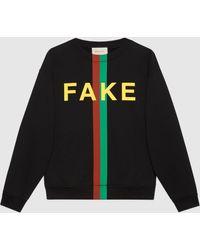 """Gucci グッチ""""fake/not"""" プリント スウェットシャツ - ブラック"""