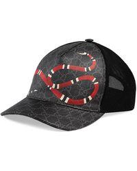 Gucci Cappello da baseball in micro rete e tessuto con stampa gg supreme e snake - Nero