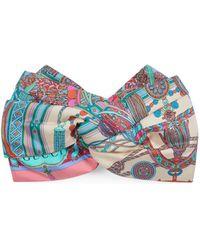 Gucci Tassel And Chain Print Silk Headband - White