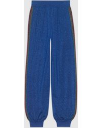 Gucci グッチウールラメ ファブリック ジョギングパンツ - ブルー