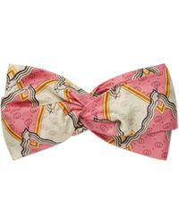 354e15b67e9 Gucci - Silk Headband With Snake Rhombus Print - Lyst