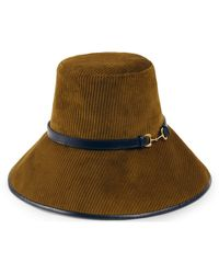 Gucci Hut aus Cordsamt mit breiter Krempe - Blau