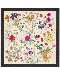 Gucci - Silk Scarf With Flora Gothic Print - Lyst