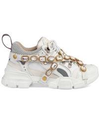 Gucci Low-top Sneakers Flashtreck Calfskin Canvas Logo Swarovski White
