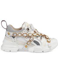 Gucci Sneaker Flashtrek donna con cristalli staccabili - Bianco
