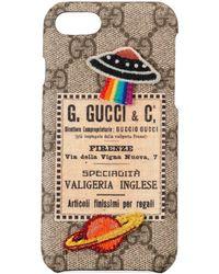 Gucci Étui pour iPhone 8 avec motif Courrier - Neutre