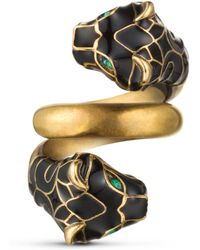 Gucci Anello testa di tigre con smalto nero