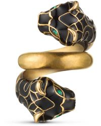 Gucci Tiger Head Ring With Black Enamel - Multicolour