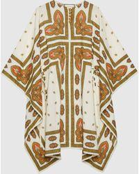 Gucci Kurzes Baumwoll-Kleid im Kaftanstil mit Blumen-Print - Weiß