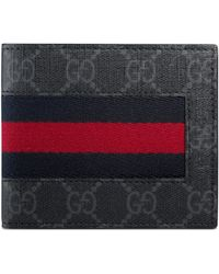 Gucci Gg Supreme Web Bi-fold Wallet - Black