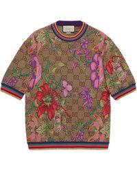 Gucci Haut en jacquard de laine GG Flora - Neutre