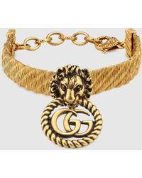 Gucci - グッチダブルg付き ライオンヘッド ブレスレット - Lyst