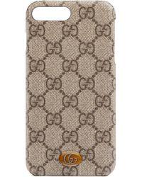 Gucci Étui pour iPhone 8 Plus Ophidia - Neutre