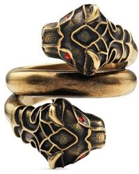 Gucci - Tiger Head Ring With Crystals - Lyst