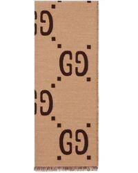 Gucci Schal aus gg jacquard aus wolle und seide - Natur