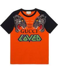 Gucci - T-shirt oversize con tigri - Lyst