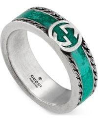 Gucci Ring With Interlocking G - Green