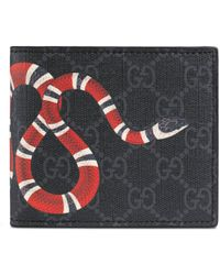Gucci Portefeuille avec porte-monnaie Suprême GG à imprimé Kingsnake - Noir