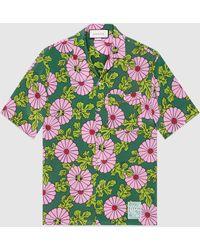 Gucci グッチケン・スコット プリント シルク ボウリングシャツ - グリーン