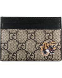 Gucci Kartenetui GG mit Tigerprint - Natur