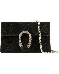 Gucci Dionysus Super-Mini-Tasche aus GG Samt - Schwarz