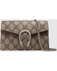 Gucci Dionysus Super-Mini-Tasche aus GG Supreme - Natur
