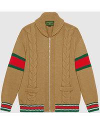 Gucci 【公式】 (グッチ)diy ユニセックス ウール ボンバージャケットキャメルにブラックのアルファベットベージュ - イエロー