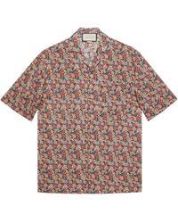 Gucci Bowling-Shirt mit Liberty-Print und Blumen - Pink