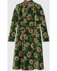 Gucci グッチケン・スコットによるフローラル プリント入り ベルベット コート - ブラック