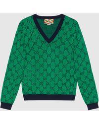 Gucci - 【公式】 (グッチ)GG マルチカラー Vネック セーターグリーン&ブルーグリーン - Lyst