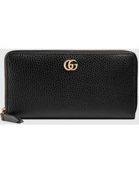 Gucci Brieftasche mit Rundumreißverschluss aus Leder - Schwarz