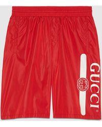 Gucci Badeshorts mit Logo Print - Rot