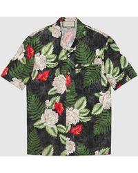 Gucci Bowling Shirt mit hawaiianischem Print - Schwarz