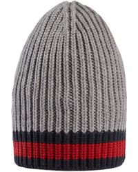 Gucci Wool Hat With Web - Gray