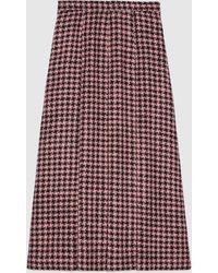 Gucci 【公式】 (グッチ)ハウンドトゥース ウール プリーツスカートピンク&ブラックピンク