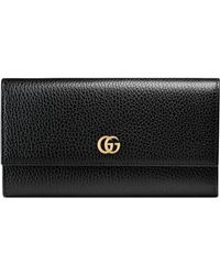 Gucci Gg Marmont Leather Continental Wallet - Black