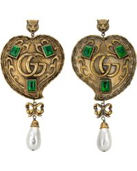 Gucci - Heart Earrings With Pearls - Lyst